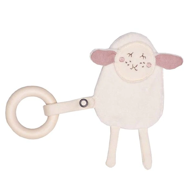 Wooly Organic Crinkle Lamb with Teething Ring