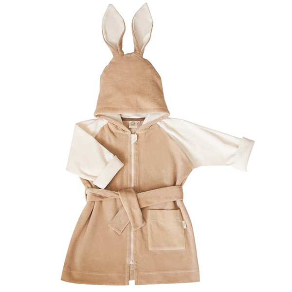 Wooly Organic Velour Bathrobe with Bunny Ears